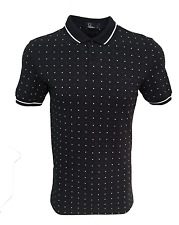 Fred Perry Polo T-Shirt - Navy - Twin Tipped - Square Print - M1570 - 608