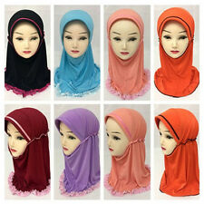 Kids Girls Cute Ice Silk Hijab Hats Muslim Islamic Scarf Amira Arab Headwear