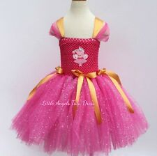 Peppa Pig Girls Dress, Pink Glitter Tulle Tutu Skirt, Peppa Pig Tutu + Lined Top