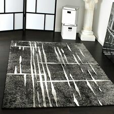 Modern Grey Rug Hall Floor Carpet Thick Area Mat White Pattern Small Extra Large
