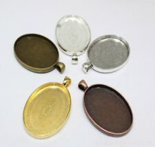 3/30pcs Gun black Tone Alloy Lace Oval Cameo Setting Inner Size:30x40mm