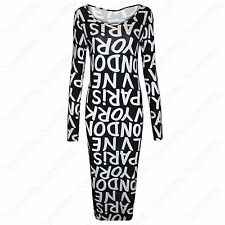 NEW LADIES MONO PARIS LONDON CITY PRINT MIDI DRESS BODYCON WOMENS BLACK SKIRT