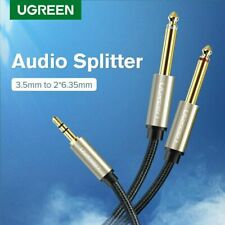 "Ugreen Cable d'Instrument 3.5mm 1/8"" vers 6.35mm 1/4"" Jack Mono Y Splitter Câble"