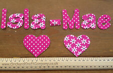Iron On Fabric Applique Letters/Numbers 7 or 10 Floral/Dotty Size 4-5cm high