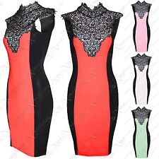 NEW LADIES CROCHET LACE STUD POLO NECK DRESS TOP WOMENS BODYCON BLACK DRESSES