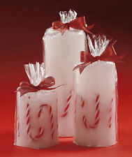 Set of 3 LED Flameless Candy Cane Candles Holiday Christmas NEW