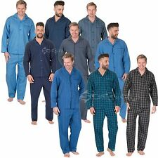 Mens Woven Polycotton Pyjama Set Sizes Small up to 5XL Stripes Plain Kingsize