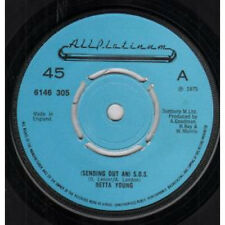 """RETTA YOUNG Sending Out An S.O.S. 7"""" VINYL UK All Platinum 1975 4 Pronged Blue"""