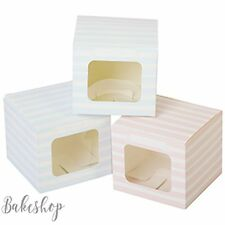 CUPCAKE BOXES MUFFIN BOX + WINDOW - PARTY, WEDDING FAVOUR,  GIFT (HOLDS 1 CAKE)