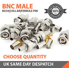 BNC Crimp Male Connector Plugs for Coaxial RG6 & RG59 CCTV packs, 2, 5, 10 & 50