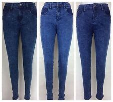 LADIES SUPPER SKINNY JEANS DENIM DARK BLUE/ BLUE/ INDIGO ACID WASH SIZE 6-18