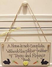 HANDMADE PERSONALISED PLAQUE SIGN PET RABBIT SHABBY CHIC CAGE HUTCH HOME GIFT