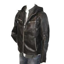 TOM TAILOR Fake Leather Jacket mit Kapuze Lederimitat schwarz black NEU
