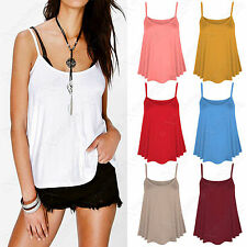 LADIES PLAIN STRAPPY SWING VEST WOMENS SLEEVELESS TOP FLARED SUMMER CAMI 8-14