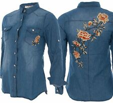 Womens Ladies Denim Floral Rose Flower Embroidered Shirt Long Sleeve Applique