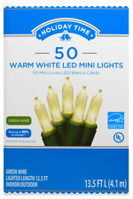 SPECIAL OCCATIONS & CHRISTMAS 50-COUNT WARM WHITE LED MINI LIGHTS w/GREEN WIRE