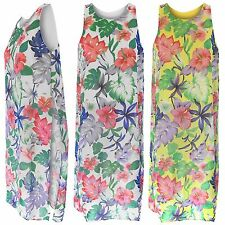 NEW LADIES FLORAL PRINT CHIFFON BACK SLIT SIDE SPLIT LINED TOP WOMENS TUNIC LOOK