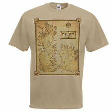 Mens Khaki Westeros Map T-Shirt Game of Thrones Geography T Shirt