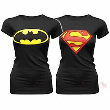 NUOVO DONNA BATMAN SUPERMAN stampa logo Maglia T-shirt ESTATE Festival