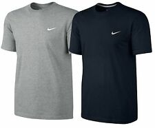 Mens NIKE T-Shirt Embroidered Swoosh Tee Short Sleeve Shirt in Black and Grey
