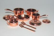 Miniature dollhouse nicely detailed 10 pc copper look cookware set 1:12 scale