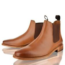 MENS NEW LEATHER SLIP ON GOOD YEAR WELTED SOLE CHELSEA ANKLE TAN BOOTS SHOES