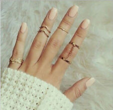 6pcs / Set  Ladys Urban Rings Crystal Above Knuckle stacking Band Midi Mid Ring
