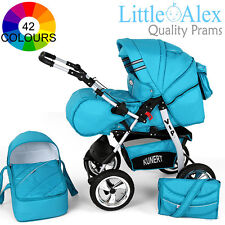 3in1 Baby Pram Stroller Pushchair Car Seat Carrycot Travel System Bugy 42 CLRS