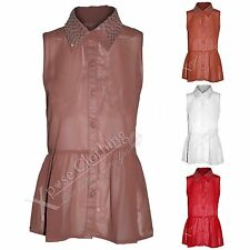 NEW WOMENS CHIFFON FRILL BLOUSE LADIES SEQUIN STUD COLLAR TOP VEST BUTTON SHIRT