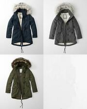 New Style Abercrombie & Fitch Women Sherpa Lined Military Parka Fur in 3 Colours