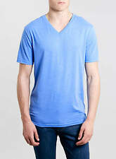 MENS BLUE V NECK T-SHIRT WITH SHORT SLEEVES FROM TOPMAN SIZES S AND M BNWT