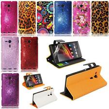 Beautiful Wallet Flip Case Cover for Sony Xperia SP MH35H C5303+Screen Protector