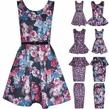 Womens Skater Dress Floral Frill Skirt New Ladies Midi Bodycon Pencil Peplum Top