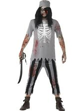 Mens Halloween Zombie Pirate Costume Gents Halloween Fancy Dress Outfit