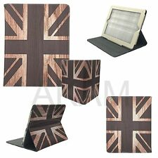 Cuero Marrón Clásico Union Jack Folio Libro Funda Con Soporte Apple Ipad &