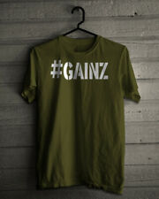 #GAINZ T SHIRT GAINS GYM BODYBUILDING MUSCLE UFC FITNESS FUNNY NOVELTY GIFT