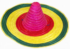 Multi Coloured Mexican Sombrero Hat Straw Wild West Adults Fancy Dress