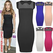 NEW LADIES PETER PAN COLLAR BODYCON DRESS WOMENS CELEB LOOK BLACK MESH TOP J LO
