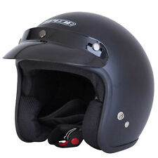 Spada Open Face Matt Black Motorcycle EC 2205 Approved Plain Helmet All Sizes