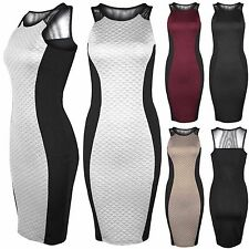 NEW LADIES WOMENS QUILTED BODYCON DRESSES BLACK SLIMMING FIT LOOK MESH TOP DRESS