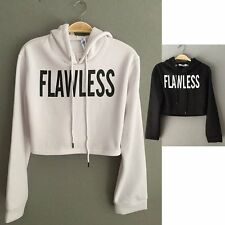 Hoodie Womens FLAWLESS Print Sweatshirts Crop Tops Sweater Pullover Coat Outwear