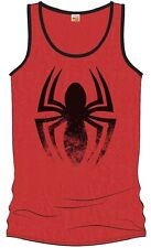 Canottiera Spider-Man red tank top black distressed logo Uomo ufficiale Marvel