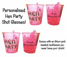 Hen Party shot Glass personalised pack of 1- 25 Hen Night/Do with Pink necklace