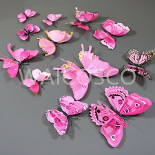 12 pcs 3D Butterfly Wall Stickers Art Decal Home Room Decorations Decor Double W