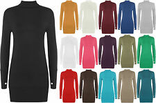WOMENS Stretch Bodycon Polo Neck Turtle Neck Long Sleeve Top Thumb Hole Dress