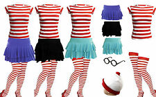 NEW WOMENS GIRLS WHERES WALLY STRIPS T-SHIRT KIT HEN PARTY COSTUME BOOK WEEK DAY
