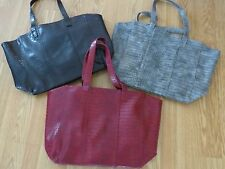 NEW NEIMAN MARCUS FAUX LEATHER BURGUNDY Large TOTE BAG BLACK/RED/GRAY