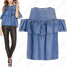 NEW WOMENS DENIM SHIRT LADIES COLD SHOULDER CUT OUT FRILL BLUE JEAN TOP 8-14