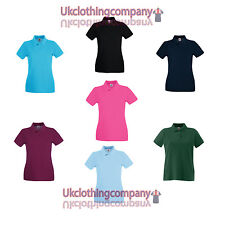 Mujer Fruit Of The Loom Lady-Fit Premium Polo Camiseta Mujer - Xs S M L XL XXL