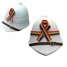 Gay Pride LBGT Rainbow Hat British Pith Helmet Carnival Party Stag Fancy Dress